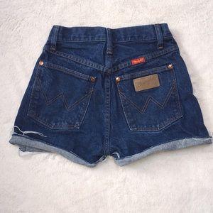 Wrangler High rise four off denim shorts